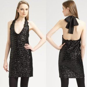 Moschino Black Sequin Halter Mini Dress